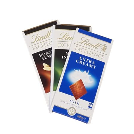 3x 100g Lindt Chocolate Blocks - Assorted selection