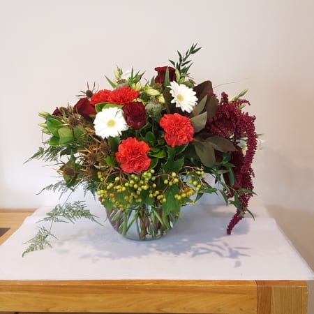 Christmas Florist Choice Flowers in Glass Vase