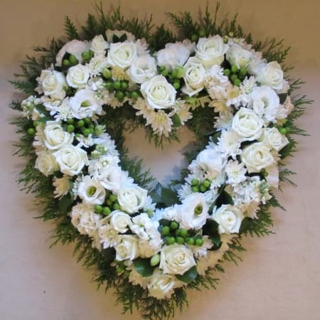 Premium White Heart Wreath