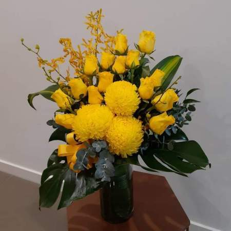 Belle Yellow Flowers in Vase